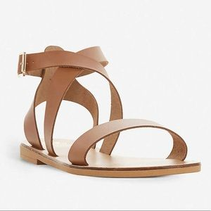 Dune London Lottiie tan strappy sandals